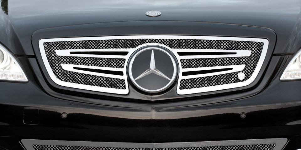 Strut handcrafted custom grille wheel and accessory for for Mercedes benz custom grills
